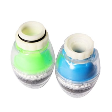 2 Stk Mini 3-Schicht Wasser Wasserhahn Filter Aktiv Carbon Filtration Luftreiniger Haus Haushalt Küche Zubehör Zufällige Farben -