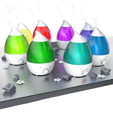 Arendo - Ultraschall LED Luftbefeuchter inkl. Wasserfilter | Raumbefeuchter | Diffusor / Humidifier | 7 facher LED Farbwechsel | geräuscharm | Dufteinschub für ätherische Öle -