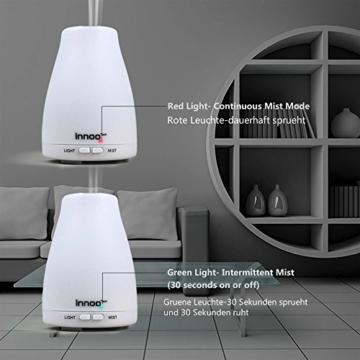 InnooTech Aroma Diffuser 100ml Diffusor Ultraschall Luftbefeuchter Kalten Nebel Technologie Abschaltautomatik Raumbefeuchter mit 7 LED Farbwechsel für Babies Yoga Kinderzimmer Schlafzimmer Büro usw. -