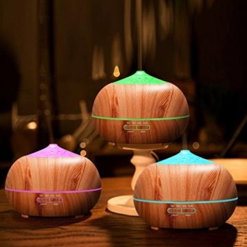 Tenswall 400 ml Luftbefeuchter Ultraschall Diffuser Aromatherapie Luftbefeuchter Ätherische Öle Luftbefeuchter Holzmaserung Duftspender für ätherische Öle Elektrische Luftreiniger aus Holz mit 7 Farben LED Lichter für zuhause, Yoga, Büro, SPA, Schlafzimmer -